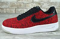 Кроссовки Nike Air Force 1 Low Ultra Flyknit Red Black, найк аир форс