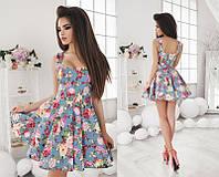 Красивое короткое женское платье с цветочным принтом с пышной юбкой на широких бретельках  +цвета