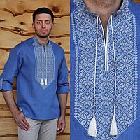 Голубая вышиванка льняная мужская с длинным рукавом