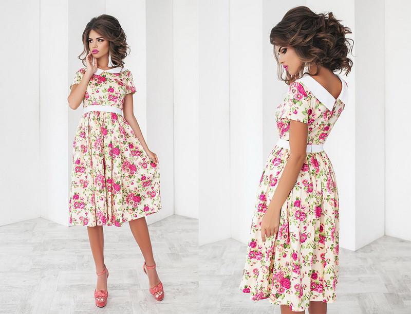 745b8b5bf08 Красивое женское платье миди(средней длины) с цветочным принтом с коротким  рукавом с воротником