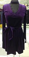 Фиолетовое бархатное платье с пышной юбкой