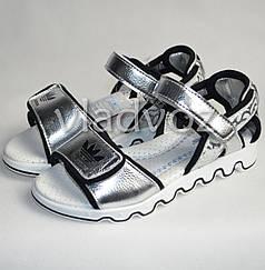Босоножки сандалии для девочки серебристые EEE.B спорт 33р.