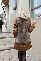 NEW 2017. Куртка из золотой плащевки + жилет из норки скандинавской, в наличии 44 р