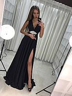 Вечернее платье Черный, украшение как на фото(На съёмном поясе) Масло-кристал ля№ чикаго