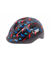 Шлем детский Green Cycle Dino размер 50-54 см черный/красный/синий лак