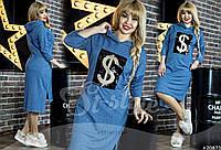 Платье большого размера, .ткань:Турецкая двухнитка (под джинс) 3 расцветки , фото реал вб № 590