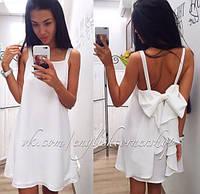 Платье летнее короткое , ткань Двойной шифон молоко, супер качество ля № ром