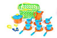 Посуда в корзинке (кастрюля, кофейник, 6 чашек, ...), в сет. 29*15*15см, Украина (6 шт)(04-437)