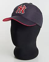 Бейсболка спорт NY перфорация пятиклинка темно-синяя с красным подкозырьком
