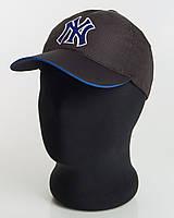 Бейсболка спорт NY перфорация пятиклинка черная с кантом электрик