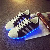 Светящиеся LED кроссовки LEDKED Superstar Black