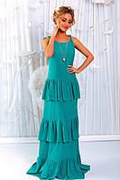 """Длинное летнее платье-сарафан на бретельках """"Афина"""" с оборками и кулоном (5 цветов)"""