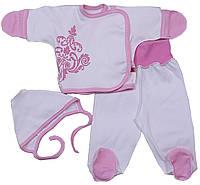 Комплект распашонка, ползунки и шапочка для новорожденных, белый с розовым, р. 56