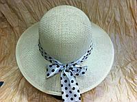 Белая летняя женская каркасная шляпка из соломки