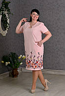 Нежное женское платье с вышивкой Цвет:Пудра
