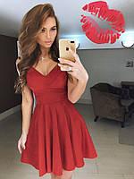 Платье нарядное короткое, ткань ткань замша, цвет бордо ,супер качество ля № галерея