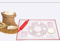 Красный силиконовый коврик для теста и мастики, выпечки 40х60 см