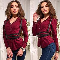 Рубашка женская, очень стильная, ткань паплин, 3 расцветки ,портупея+ 60 грн ац№207-13