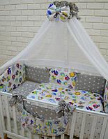 """Комплект в детскую кроватку """"Совы цветные с серыми звездами"""""""