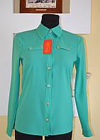 Шифоновая женская блуза Фортуна бирюзового цвета