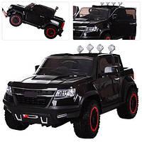 Электромобиль детский джип внедорожник М 3460 EBLR-2 черный с 4-мя моторами Ева колесами и кожаным сиденьем