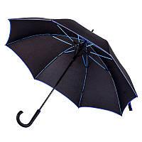 Зонт-трость 71300, полуавтомат, ручка пластик, чёрный с синей каймой, купол 103 см, от 10 шт