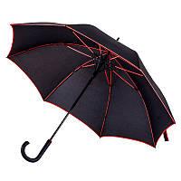 Зонт-трость 71300, полуавтомат, ручка пластик, чёрный с красной каймой, купол 103 см,от 10 шт