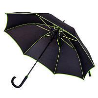 Зонт-трость 71300, полуавтомат, ручка пластик, чёрный с зеленой каймой, купол 103 см,от 10 шт