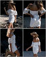 Женское, летнее, белое мини-платье из хлопкового кружева (приталенный силуэт, открытые плечи) Фабричный Китай