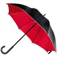 Зонт-трость 45197, двухцветный, ручка пластик, чёрный с красным, от 10 шт.