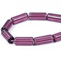 Бусины Стеклянные прозрачные, Трубка, Цвет: Фиолетовый, Размер: 15х6мм, Отверстие 0.8мм, около 20шт/нить, (УТ100006953)
