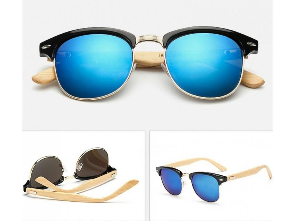 Качественные солнцезащитные очки Ray-Ban Clubmaster Spunky. Зеркальные очки.  Стильные очки. Код fde21cde5ed