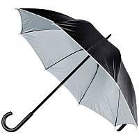 Зонт-трость 45197, двухцветный, ручка пластик, чёрный с серым, от 10 шт.