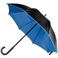 Зонт-трость 45197, двухцветный, ручка пластик, чёрный с синим, от 10 шт.
