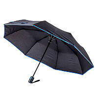 Зонт складной полуавтоматический, ручка пластик, черный с синей каймой, от 10 шт.