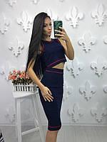 Женский, силуэтный, трикотажный костюм юбка-карандаш + топ весна-лето 2017. Фабричный Китай РАЗНЫЕ ЦВЕТА