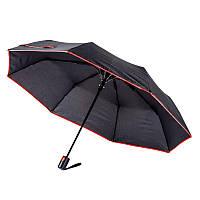 Зонт складной полуавтоматический, ручка пластик, черный с красной каймой, от 10 шт.