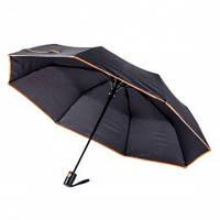 Зонт складной полуавтоматический, ручка пластик, черный с оранжевой каймой, от 10 шт.