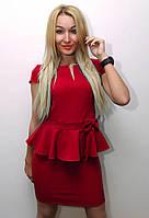 Платье женское модное однотонное розовое арт.143, фото 1