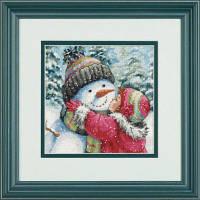 Набор для вышивки крестом Поцелуй для снеговика