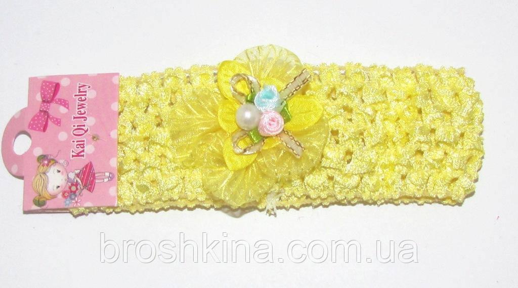 Детская повязочка на голову с цветами желтая