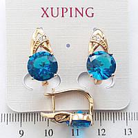 Серьги  Xuping позолоченные 2см ярко-голубые 504