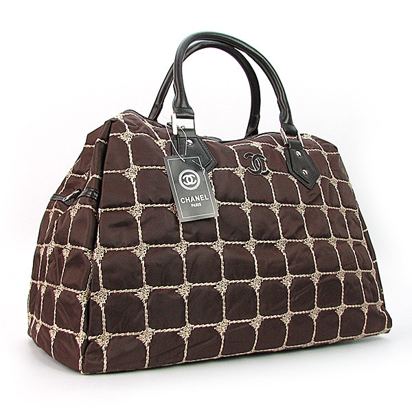 Сумка дорожная текстильная стеганая женская коричневая 5340