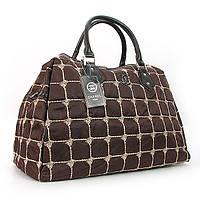 Сумка дорожная текстильная стеганая женская коричневая 5340, фото 1