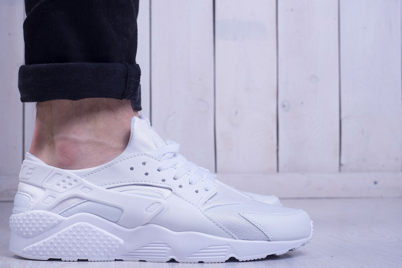 Мужские кроссовки Nike Air Huarache Run Triple White (найк хуарачи ... af6f4816cac38