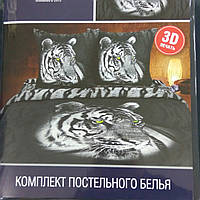 """Комплект постельного белья Тиротекс ранфорс 3 Д """"Тигр"""", фото 1"""