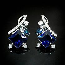 Серебряные серьги со вставками из цветных фианитов, 30 камней, фото 3