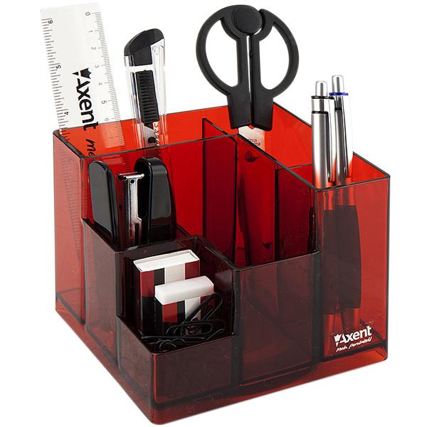 Набор настольный Axent Cube 2106-06-A, 9 предметов, в картонной коробке, красный