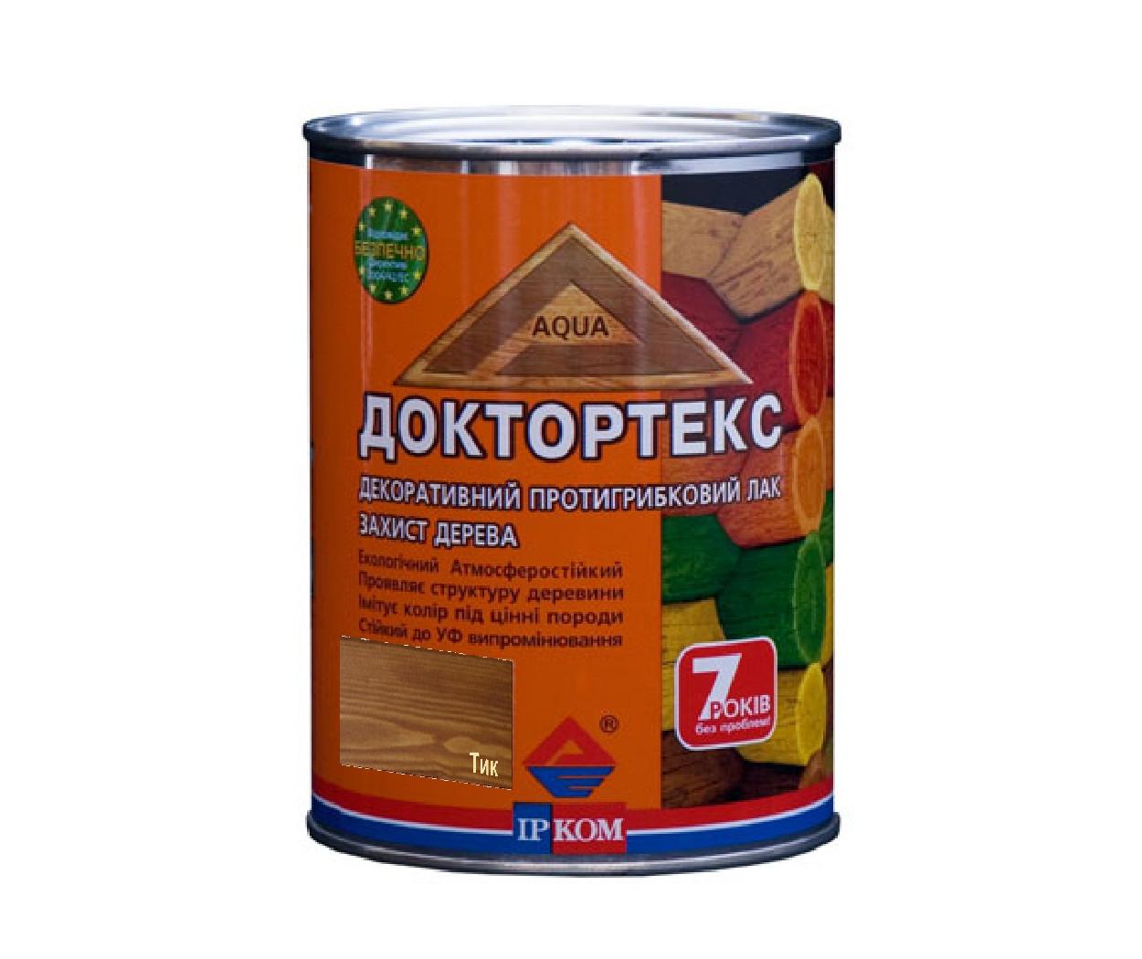 Лазур-лак антисептичний ІРКОМ ДОКТОРТЕКС ІР-013 для деревини твк 0,8 л