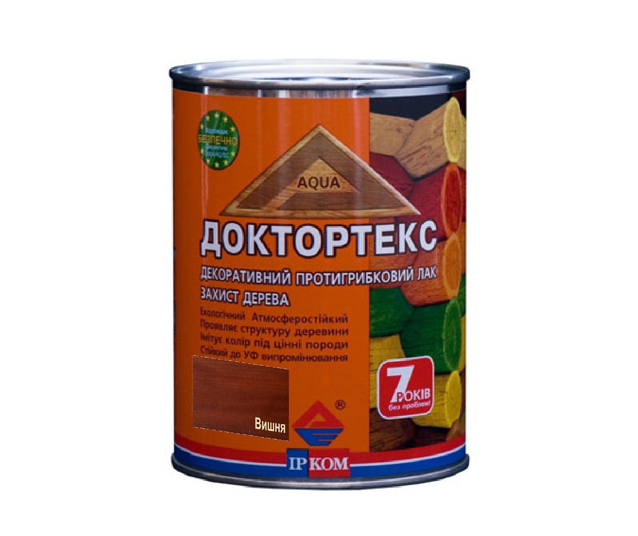 Лазурь-лак антисептический ІРКОМ ДОКТОРТЕКС ІР-013 для древесины вишня 0,8л